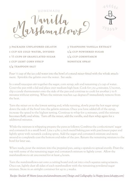 Sinclair & Moore Marshmallows recipe
